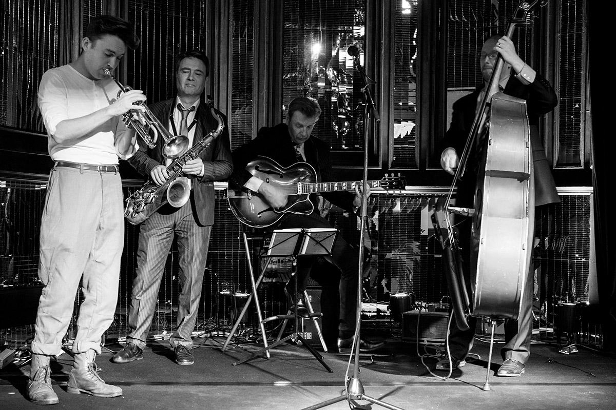 Groupe de Jazz en noir et blanc
