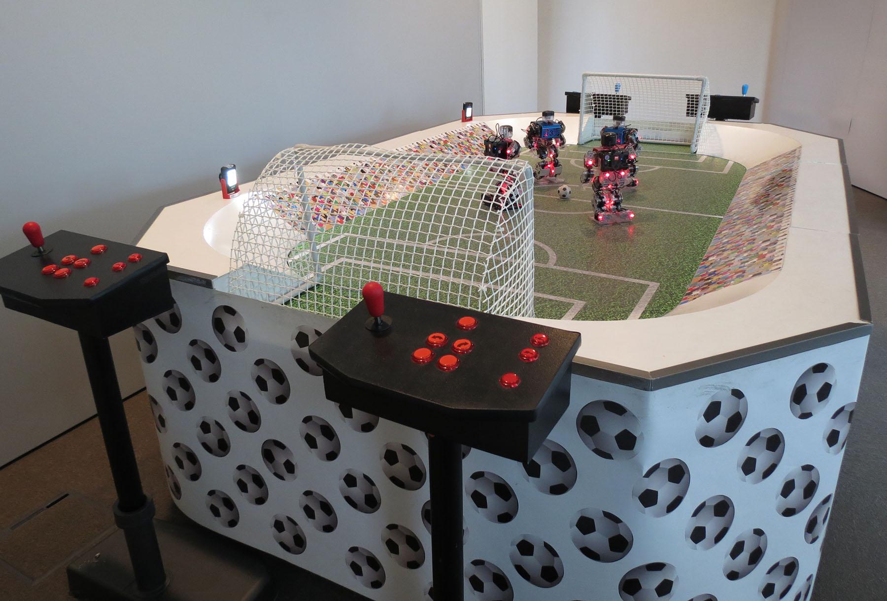 Vu des bornes de controle des robots footballeurs