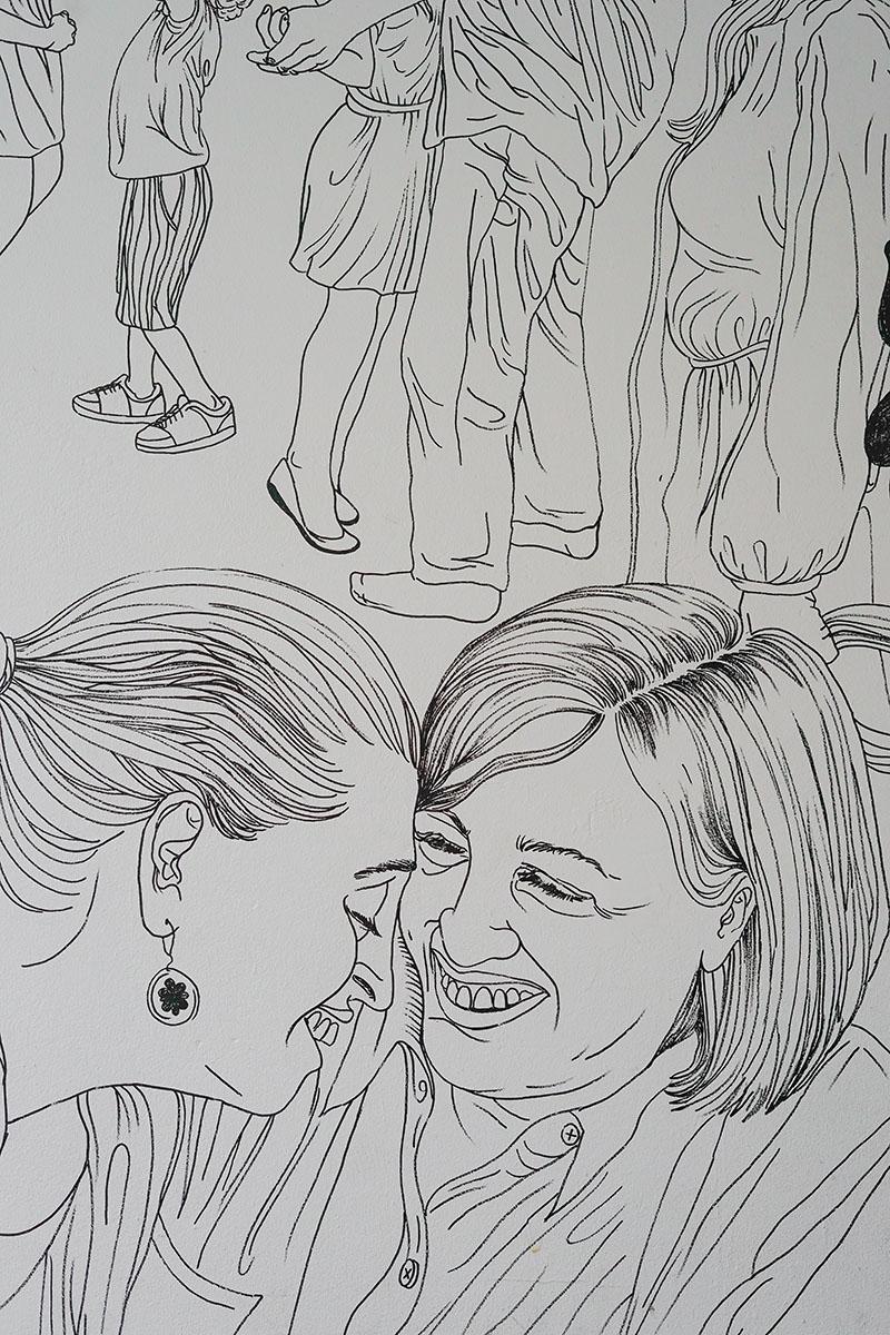 Plusieurs caricatures sur une feuille blanche