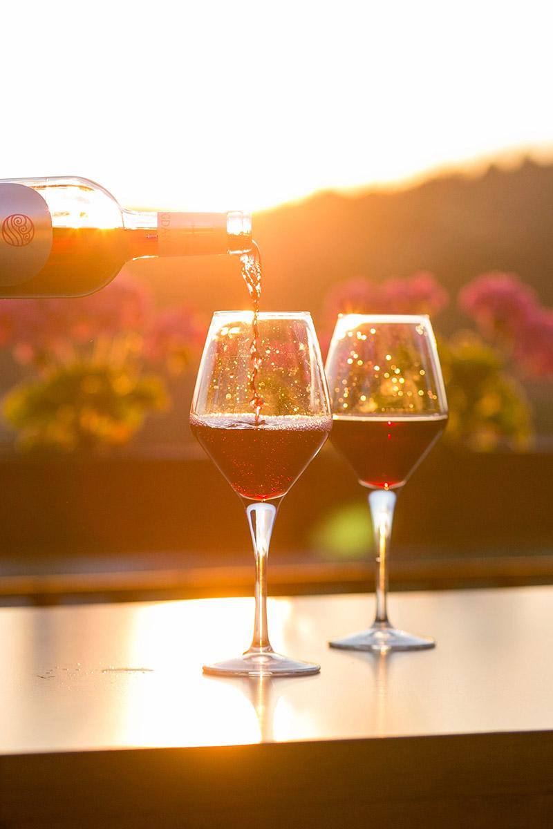 Dégustation oenologique avec deux verres de vin rouge